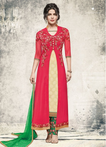 Fancy Red Embrodaeid Suit With Koti