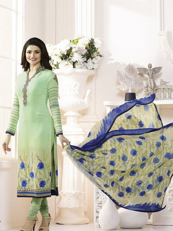 Parrot Georgette Embodarid Fancy Dress