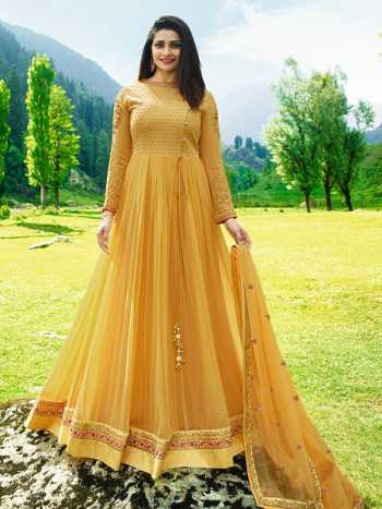 Yellow Party Wear Anar kali Suit