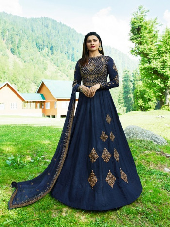 Blue Fancy Embrodarid Anarkali Suit