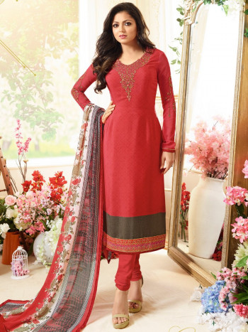 Red Embrodarid Party Wear Crepe suit