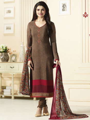 Fancy Coffee Georgette Party Wear Dress