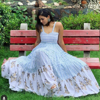 Exclusive Sky Blue Party wear Gown