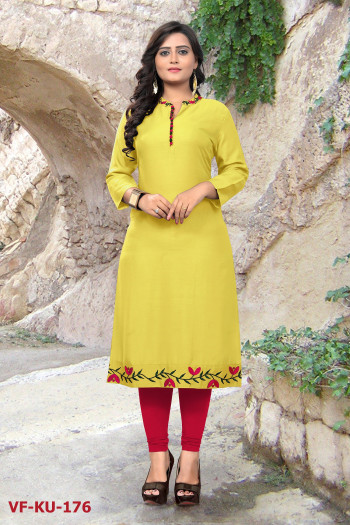 Rayon Yellow Plain & Embroidered Kurti