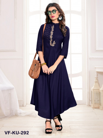 Rayon Navy Blue Embroidered Kurti