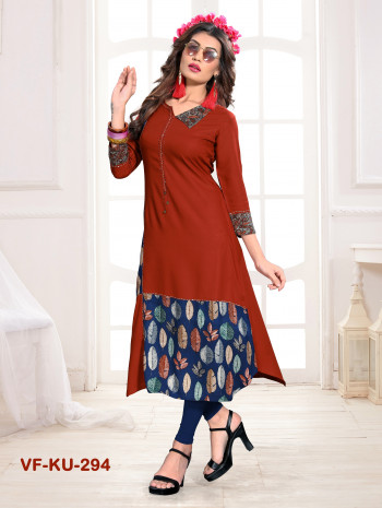 Rayon Light Brown Printed & Handwork Kurti
