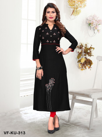 Rayon Black Embroidered Kurti