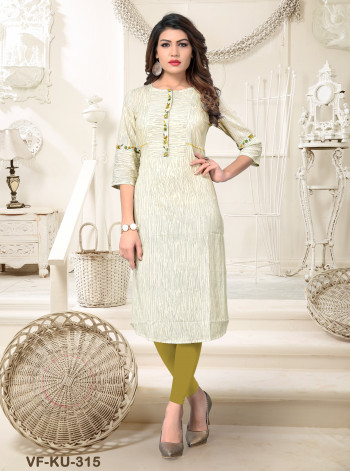 Cotton  Beige  Embroidered/Printed Kurti