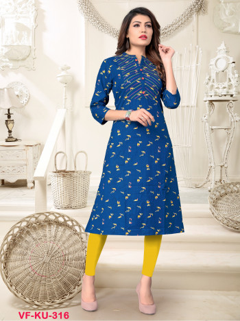 Cotton  Blue Printed/Handwork Kurti