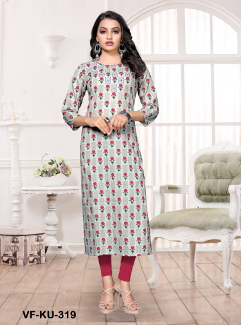 Cotton  Grey & Red Printed/Handwork Kurti